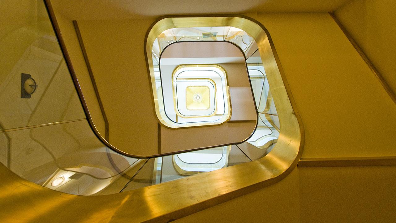 Detail of stairwell at Glen Ridge office
